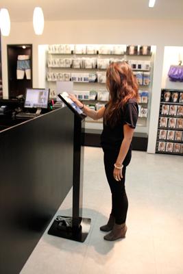 Calvin Klein iPillar locking kiosk to launch Push Positive, the new soft-wire push up...